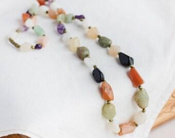 Long gemstone necklace_natural stone jewelry_jade carnelian_amethyst quartz_black green_purple white orange_1970s_soviet vintage_beauty gift