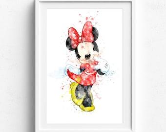 Minnie Mouse, Disney Wall Art, Nursery Decor, girls room decor, girls room art, kids room decor, girls room poster, nursery boy room decor