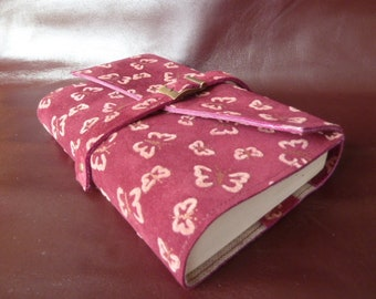 """Height 18 cm book, book adjustable belt and buckle, cowhide leather """"touch velvet butterflies"""" Plum"""
