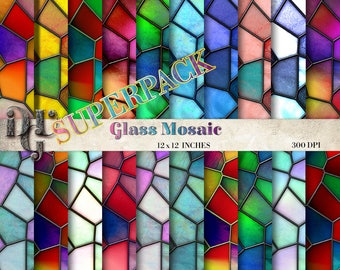 Mosaic Digital Paper: Glass Mosaic, Stained Glass background, colorful mosaic pattern, 20 Digital Mosaic Paper istant download n. 147