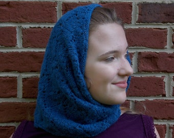 knitted cowl scarf  in lacy marine blue design