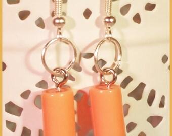 Orange resin wood earrings