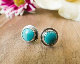Turquoise Stud Earrings, Sterling Silver Stud Earrings, Gemstone Earrings, Gemstone Stud Earrings, Post Earrings, Everyday Earrings,