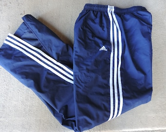 90's ADIDAS Track Pants Navy Blue Adidas Track Pants Lined Ankle Zip Size Lg.