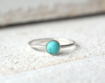Turquoise Ring, Silver Turquoise Ring, Stacking Ring, Dainty Turquoise Ring, Stackable Ring, Turquoise Ring Silver, Dainty Silver Ring