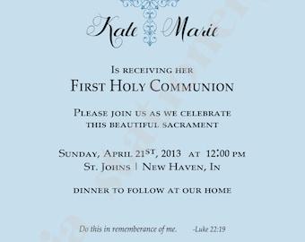 1st Communion Invitation with Fancy Cross with Quatrefoil background in light blue (5x7) U-Print