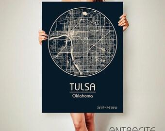 TULSA Oklahoma CANVAS Map Tulsa Oklahoma Poster City Map Tulsa Oklahoma Art Print Tulsa Oklahoma