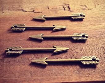 Arrow Charms, Antique Bronze, Native American Charm Pendant, Vintage Jewelry Pendants Supplies  (BD078)