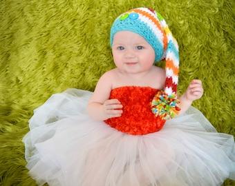 Crochet Santa's Little Helper Striped Christmas Hat  with PoM Pom