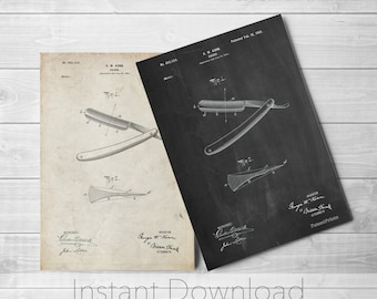 Straight Razor Printables, Bathroom Decor, Shaving, Vintage Razor, Barber Gifts, PP1178
