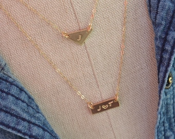 Tiny GOLD Bar Triangle Layered Necklace Set / Minimalist Personalized Geometric Initial necklaces / Triangle Nameplate Layering Jewelry