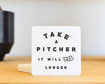 Take A Pitcher Letterpress Coaster Set
