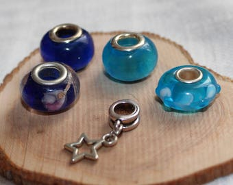 LOT 5 European beads * blue/turquoise * for bracelets or necklaces charms
