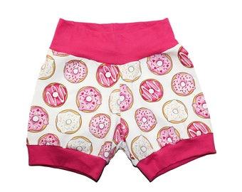 Girls Donut Shorts - Girls Shorties - Baby Shorts - Pink Donut Shorts - Baby Clothes - Pink Doughnut Shorts - Girls Shorts - Donut Shorties