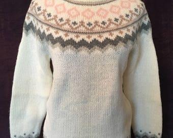 Vintage Shetland Wool Hand Knit Fair Isle Sweater