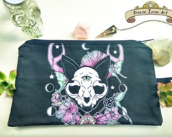 Twilight Zippered Pouch - Moon Floral - Cat Skull - Clutch bag Purse Wristlet - Cosmetic pencil - Bianca Loran Art