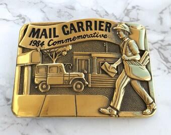 Vintage Men's Belt Buckle Mail Carrier Commemorative Solid Brass 1984 Baron Buckle Limited Edition