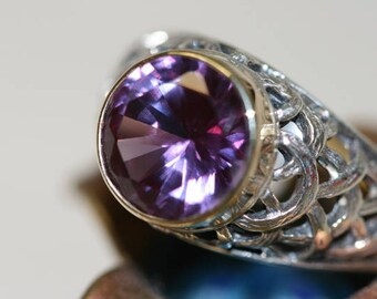 Alexandrite Silver Ring, Sterling Silver Alexandrite  Engagement Ring, Silver Jewelry, Antique Alexandrite Silver and Gold Rings,