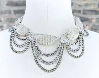 90's Vintage    Chain Mail Upcycled Choker Necklace    Avant Garde Necklace    Upcycled Book Page Necklace    0438
