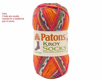 MEXICALA STRIPES Patons Kroy Sock Yarn. A Self Striping sock Yarn. Super Fine Wool Blend Sock Yarn. Self- Striping in a rainbow of colors! >