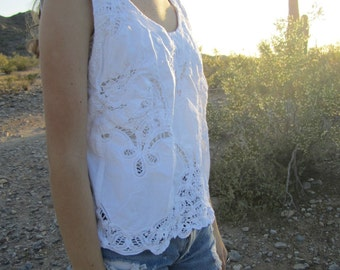 Vintage Battenburg Lace Cotton Sleeveless Top....