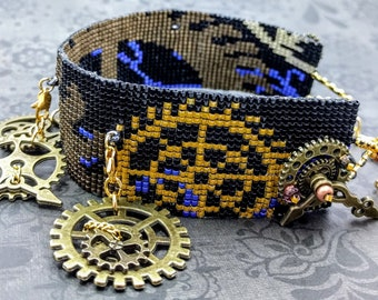 Steampunk 8 bit pixel beaded choker necklace with charms/gears/cogs/clock/handmade/bronze/gifts for her/geek/nerd/cosplay/costume