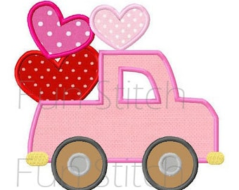 Valentine love truck applique machine embroidery design