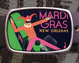 Vintage Mardi Gras Belt Buckle, Fat Tuesday Parade Jester Clown Masquerade Beads 804 Gift for Him or Her Husband Wife  Gift