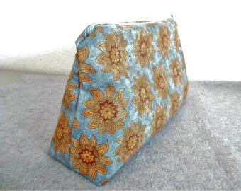 Large Cosmetic Bag - Suns on Blue