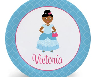 Pretty Princess Plate - Blue Princess Plate or Bowl - Child's Plate - Child's Bowl - Melamine Bowl or Plate Personalized (Plastic)