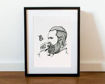 Bearded Dreamer - Print | A4 size (29,7 cm x 21 cm) & A3 size (42 cm x 29x7 cm)