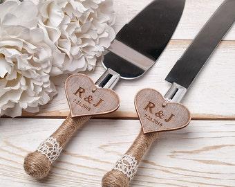 Wedding Cake Server and Knife Rustic Wedding Cake Serving Set Wedding Cake Server Set Wedding Knife Set Cutting Set Personalized Cake Server