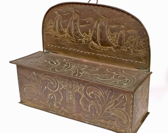 Antique 18th Century Dutch SPILL MATCH BOX Embossed Repousse Bronze Brass Armorial Shield Nautical Ships Sailboats Windmills Matchbox Candle