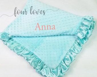 Girl Baby Blanket, Minky Baby Blankets, Ruffled Baby Blanket, Personalized Blanket, Girl Blanket, Minky Blanket, Girl Minky Blanket,