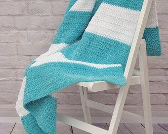Crochet afgan blanket, baby blanket, white and blue blanket