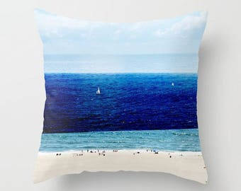 Beach Print Throw Pillow with Insert // Navy Blue & Turquoise Teal Decor // Decorative Pillows with Inert // Custom Made Beach Print Pillow