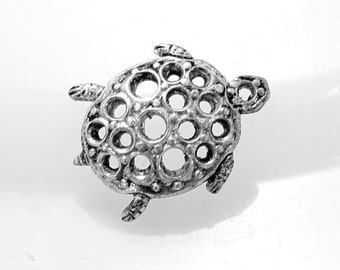 2pcs--Turtle, Brass Stamping, Antique Silver, 21x16mm (B32-4)