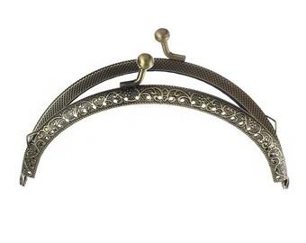 x 1 lock claps semicircle door/hand bag purse sewing bronze 12.6 x 7, 7 cm
