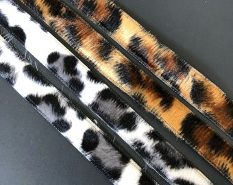 Leopard and Snow Leopard faux fur ribbon trim 1/2 inch wide. Free domestic shipping