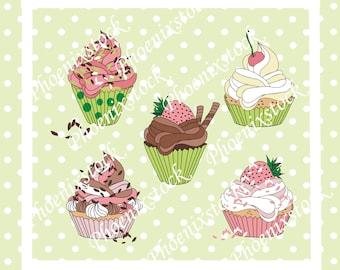 Birthday clip art/ cup cake clip art/birthday cup cakes/cup cake/ happy birthday