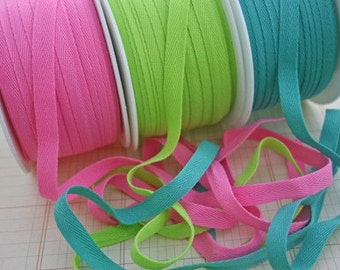 """LIME GREEN Twill Tape Trim - Sewing Bunting Pendants Shipping Packaging - 3/8"""" Wide - 10 Yards"""