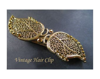 Vintage Hair Clip * Leaf Design * Filigree And Amber Rhinestones * Retro Hair Accessory