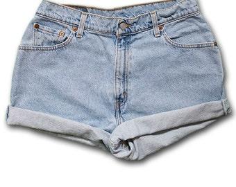 Vintage 90s Levi's Light/Medium Blue Wash High Waisted Rise Cut Offs Cuffed Rolled Jean Denim Shorts – Size 31