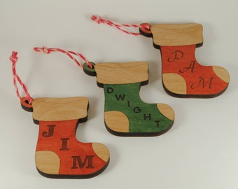 Personalized Stocking Ornament - Cut and Engraved Cherry Wood
