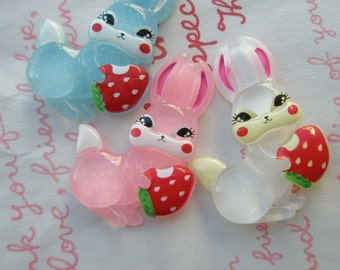 sale Retro Bunny with Strawberry Yum Yum 3pcs Set B White Blue Pink