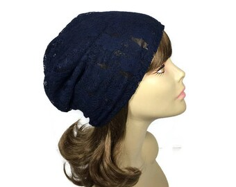 FREE SHIPPING/Custom Size Navy Blue Lace Hat Blue Lace Slouchy Hat Navy Blue Lace Turban Slouchy Beanie Woman's Blue Hat  for Hair Loss Cap