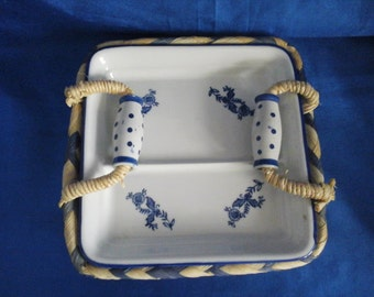 Blue & White Pottery Square Server in a Ratan Basket with Handles