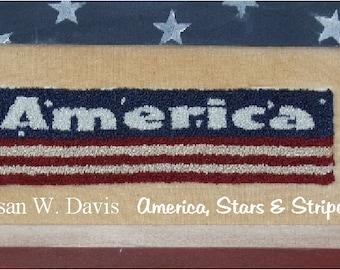 America, PDF Download, Punch Needle Pattern