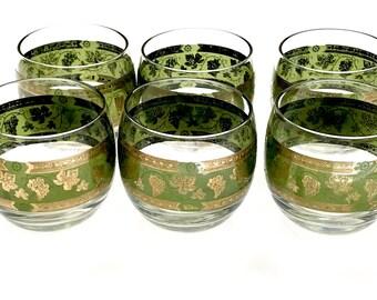Mid Century Modern Bar Glasses, Vintage Cera Green Gold Grape Clusters, Roly Poly Glasses, Set Of 6 Gold Encrusted 22K Design, Vintage 1960s