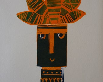 Potty Pot Head Mid Century inspired lino print